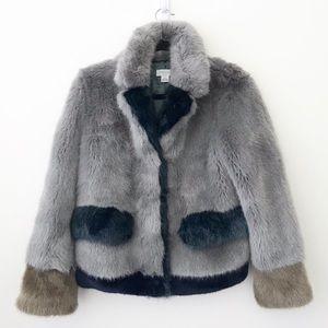 Molliolli Colorblock Faux Fur Coat